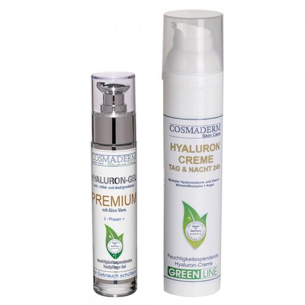 Attraktives Set-Angebot: Hyaluron Tag- & Nachtcreme 24 h, Airless-Dispenser, 100 ml + Hyaluron-Gel P
